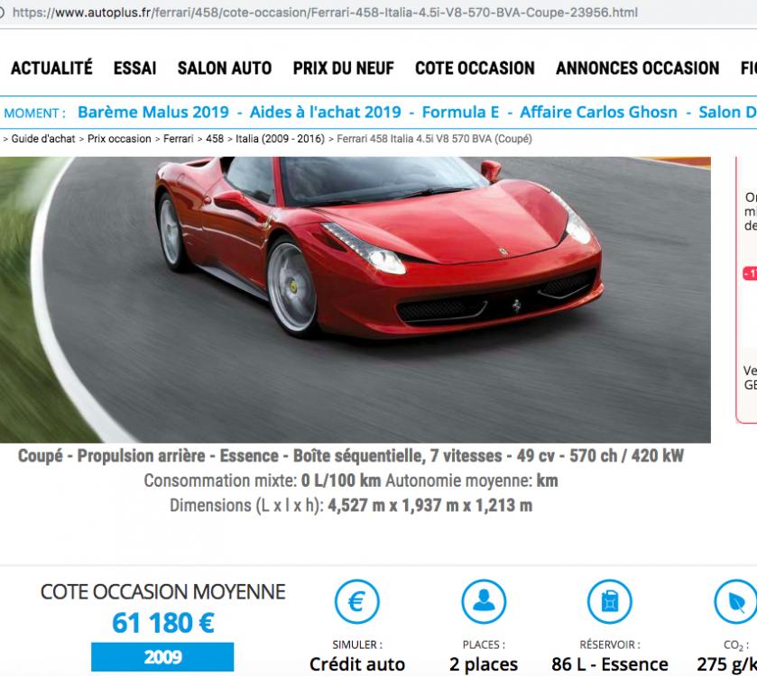 Ferrari F8 Tributo Spyder: Ferrari 458 Italia Et Spider : Le Marché De L'occasion